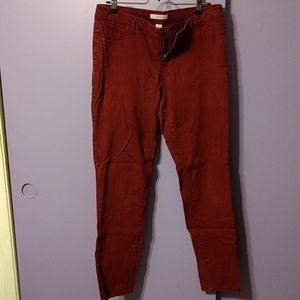 Brick red skinny jeans